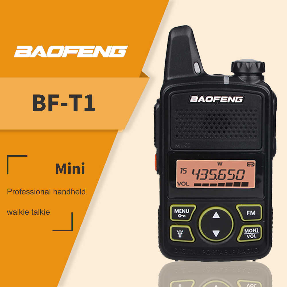 De Baofeng BF T1 Mini Walkie Talkie de UHF 400-470MHz Radio BF-T1 Radio de dos vías cargador USB programa transceptor portátil CB Radio