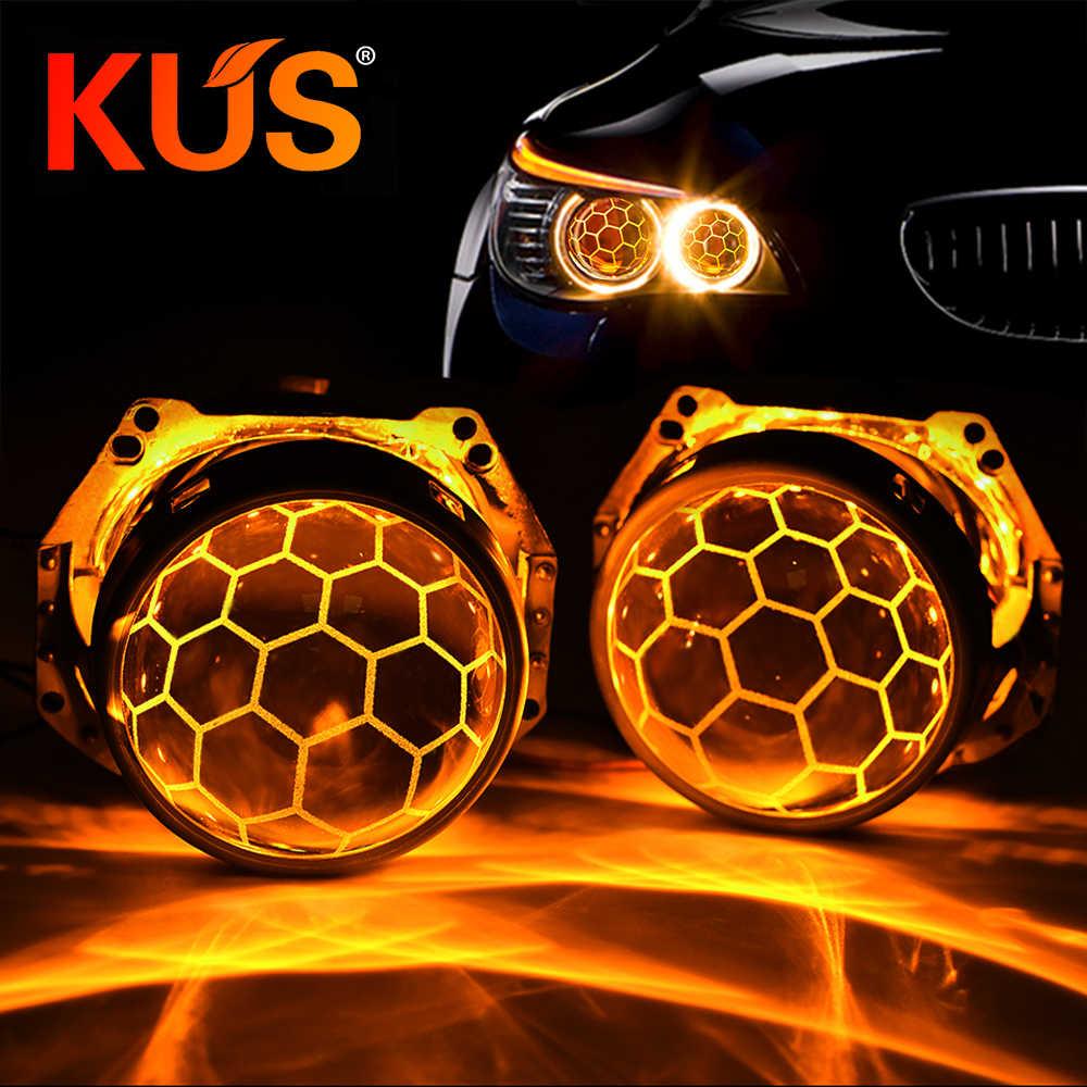 Projecteur de xénon Bi 3.0 pouces | Revêtement bleu en nid d'abeille, Hella 3R G5 support métallique D1 D2 D3 D4, ampoules pour la rénovation des phares de voiture