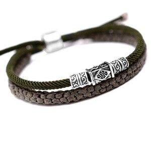 Image 5 - 925 argent porte bonheur Bracelet tressé pour hommes Double couches réglable tibétain à la main noeuds chanceux corde Bracelet personnalisé