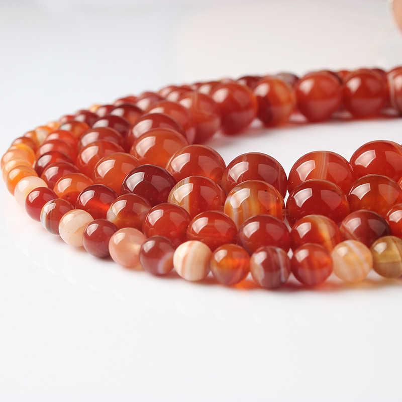 LanLi Mode natürliche Schmuck tiefe wein streifen Achate steine Lose Perlen 4 6 8 10 12mm DIY armband halskette zubehör