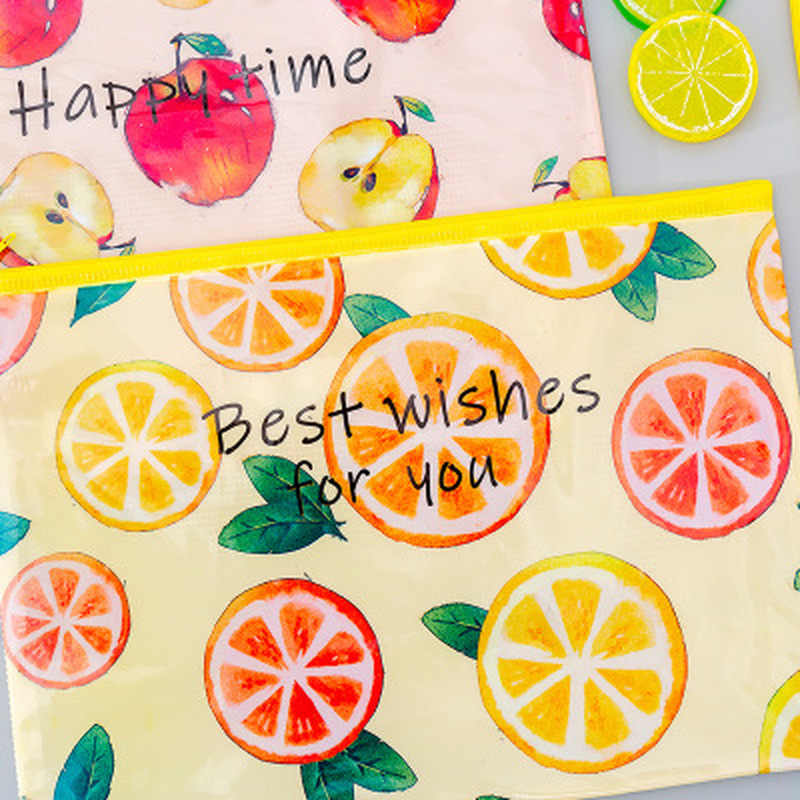 Fruit File Bag Pencil Pouch Kawaii Stationery Pencil Case Zipper Pen Bags Novel Korean Bag Stationery Pen Case School Supplies