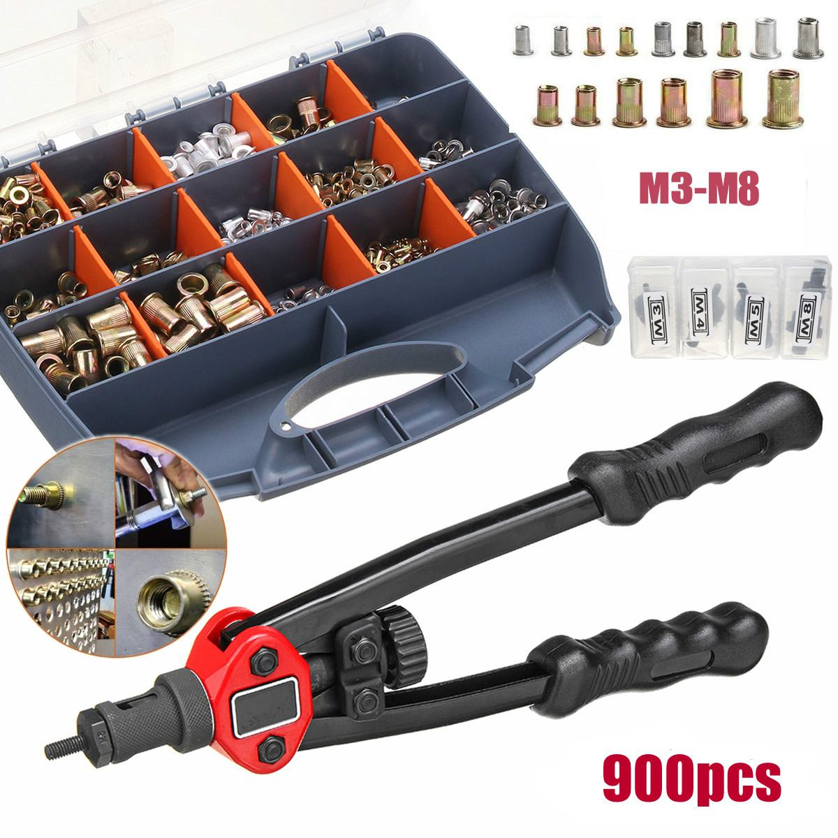 Hand Threaded Rivet Nuts Guns With Nuts 605 606 Double Insert Manual Riveter Riveting Rivnut Tool For M3/M4/M5/M6/M8/M10/M12 Nut
