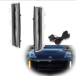 Image 2 - iJDM Front Bumper Switchback White&Amber LED Running Lights Turn Signal For 2006 2009 Nissan 350z LCI,Exact Fit Bumper Reflector