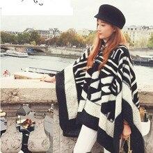 Зимний женский шарф с шапкой, вязаная Пряжка для кардигана, Большой мощный длинный кашемировый утолщенный теплый шарф, женские пончо с бахромой, шаль