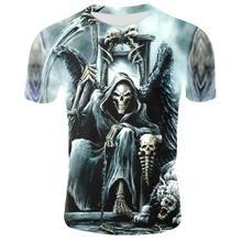 3D T-shirt erkek Grim Reaper Punk 3D baskılı tişört erkek tişört yaz üst erkek moda