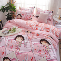 Bedding set fashion cartoon printing 4 piece family bed set bedding quilt cover sheets pillowcase / bed set 2019