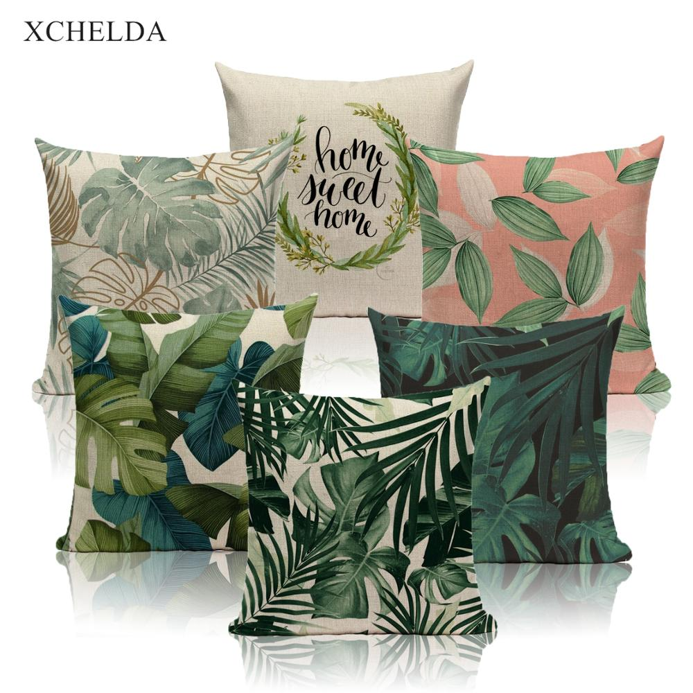 Fur Linen Cushion Cover Decorative Nordic Style Pillowcase Tropical Botanic Leaves 45*45 40*40 Green Leaf Throw Pillow Case