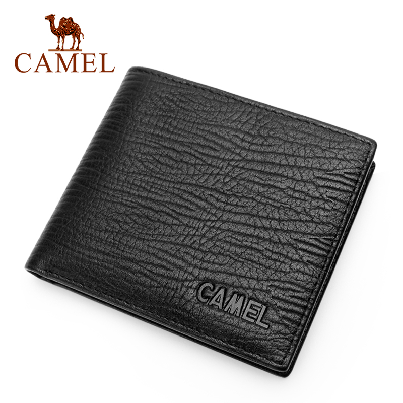 CAMEL Fashion Men Genuine Leather Wallet Business Casual Short Cowhide Wallet Men's Young Cross-section Soft Wallets