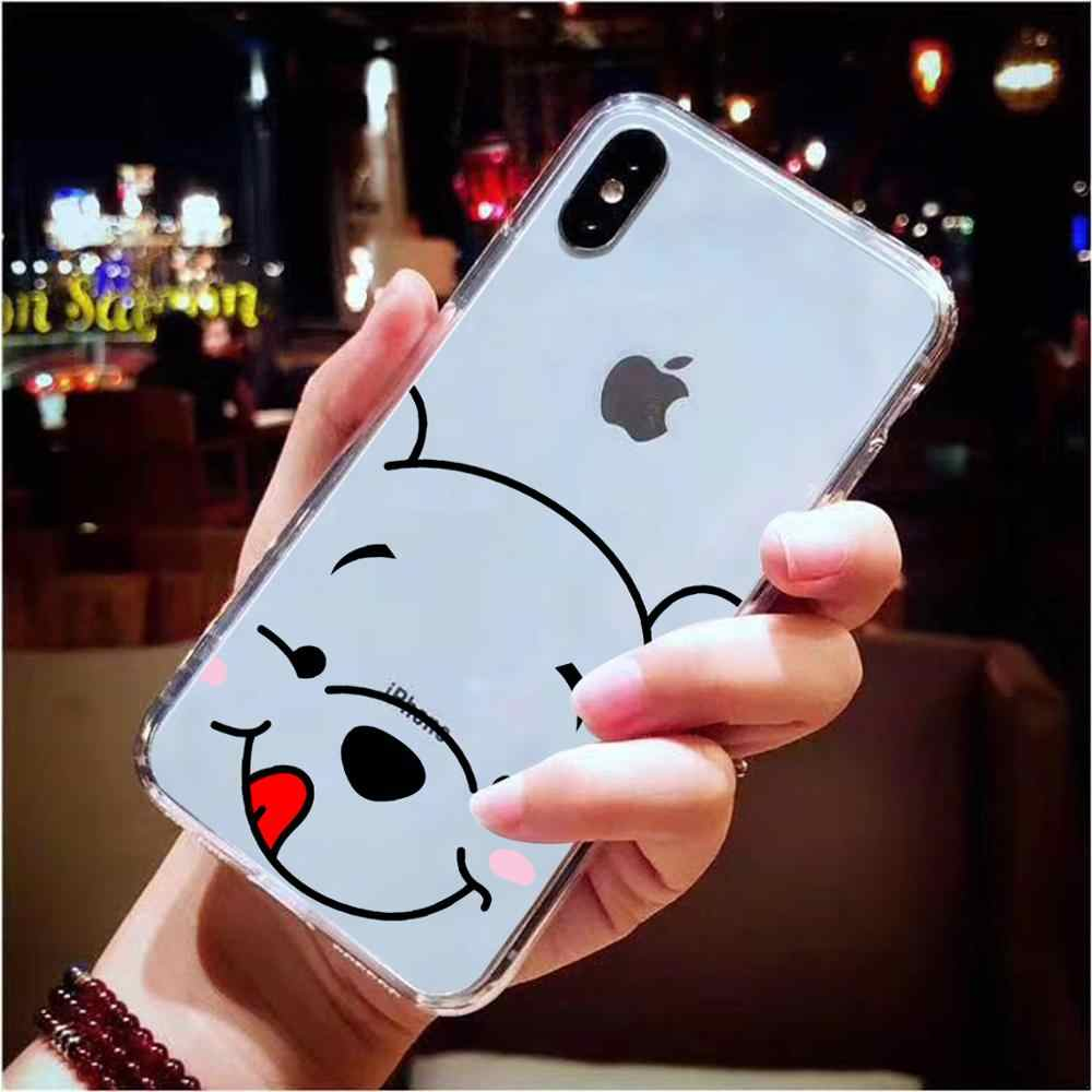 Cute Cartoon Winnie Pooh Piglet Clear Silicone Soft TPU Case For iPhone 11 Pro XS Max X XR 8 7 6 6S Plus 5S SE Case Funny Cover