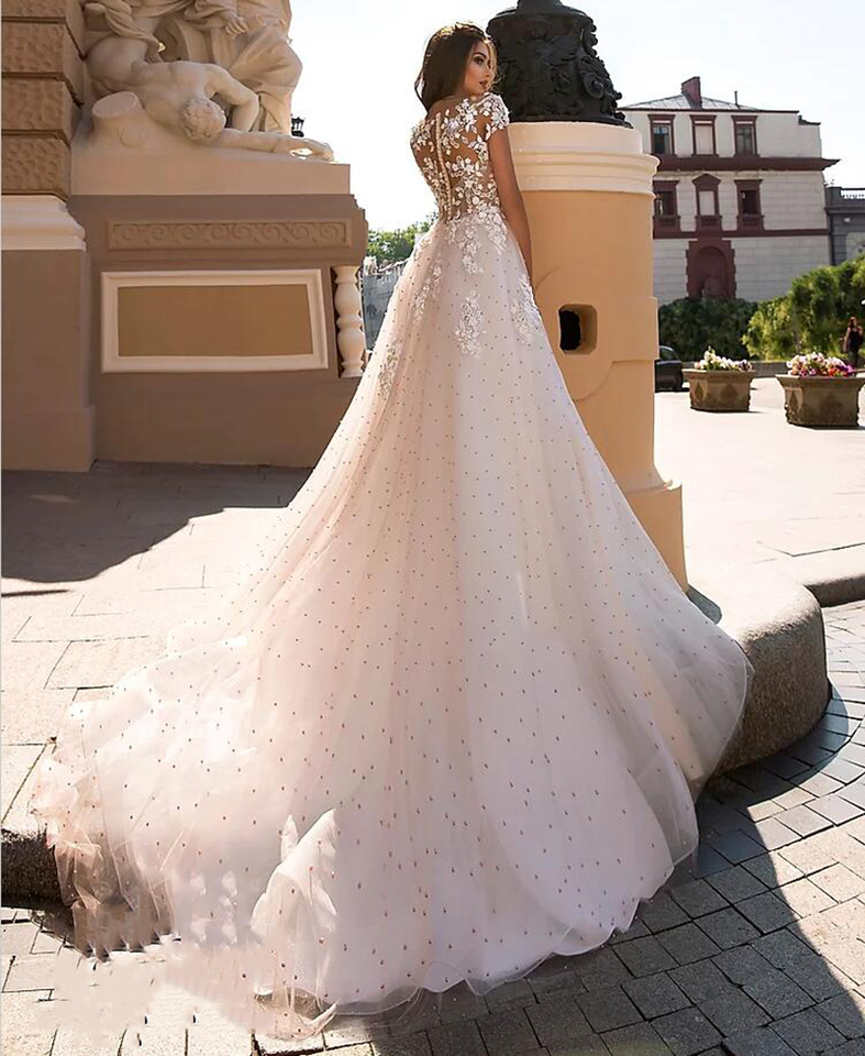 Sevintage Shinny Plus Size Glitter Tulle Wedding Dresses Boho Appliques Lace Bride Dress Short Sleeves Sweep Train Bride Gowns Aliexpress,Party Wear Maria B Wedding Dresses For Girls 2019