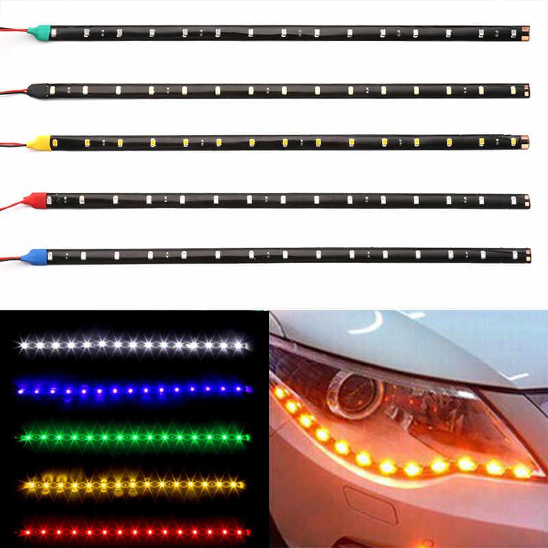 12V 15SMD yüksek güçlü araba LED şerit işık araba DRL lamba su geçirmez LED esnek gündüz çalışan işık dekoratif araba-styling