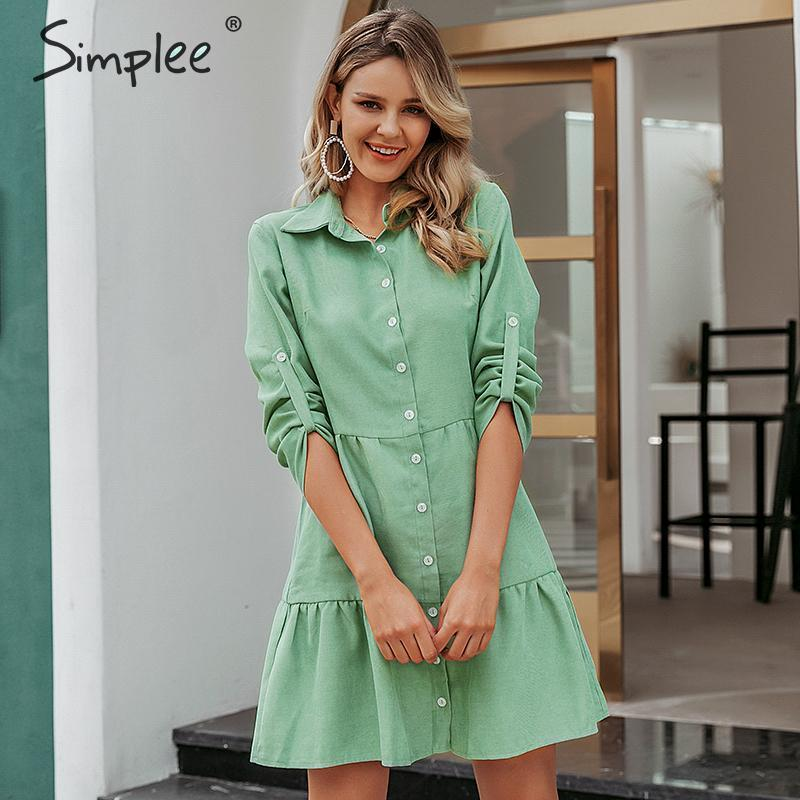 Image 2 - Simplee Autumn women shirt dress A line lapel solid female casual blouse dress Winter long sleeve office ladies chic short dressDresses   -