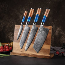 Kitchen Knives Set Chef Knife Damascus Steel VG10 Meat Cleaver Bread Knife Sharp Boning Tool Color Wood Handle Santoku Tool