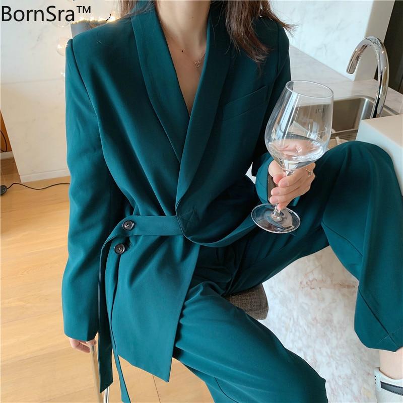 BornSra Vintage Two Pieces Set Women Blazer Set Lace Up Notched Blazer & Loose Pant Women Pant Suits Female Trouser Suit 2020