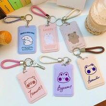 Schöne Original Frauen Karte Halter mit Handheld Schlüsselanhänger Korean Bär Kaninchen Hard Shell Student ID Karte Abdeckung Pass Badge Halter