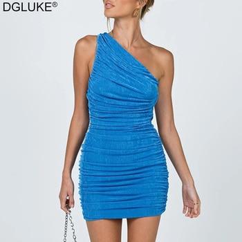 Sexy One Shoulder Mini Dress Summer Blue Orange Short Party Dress Women Sleeveless Ruched Bodycon Dress 2021 1