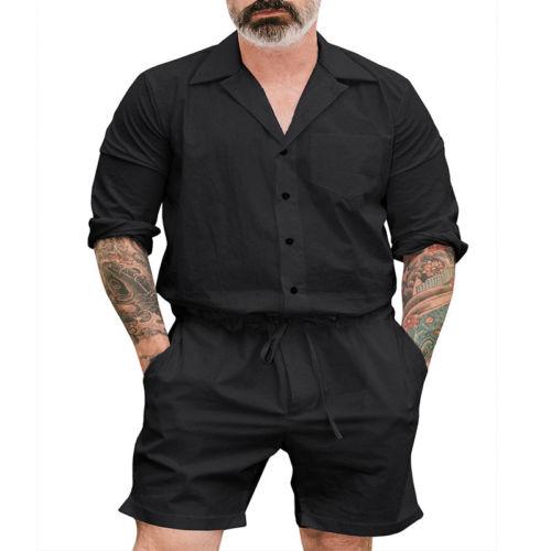 New Men Short Romper Sleeve Casual Cargo Pants Jumpsuit Siamese Trousers 2019 Pencil Pants Slim Fit Long Sleeve One Piece Hot