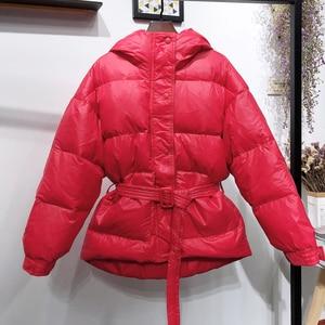 Image 4 - Fitaylor冬超軽量女性ダウンジャケットウォームホワイトダックダウンフード付きパーカー女性シングルブレスト雪上着とベルト
