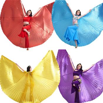 Brzuch Isis taniec skrzydła motyla kostiumy dla kobiet dorosły karnawał Party cygański występ na scenie praktyka nosić złotą spódnicę tanie i dobre opinie WOMEN Wing Poliester Solid One size 6Color Wing+ Stick(Need Purchase) Butterfly Wings for women Belly dance skirt Wings of isis dance