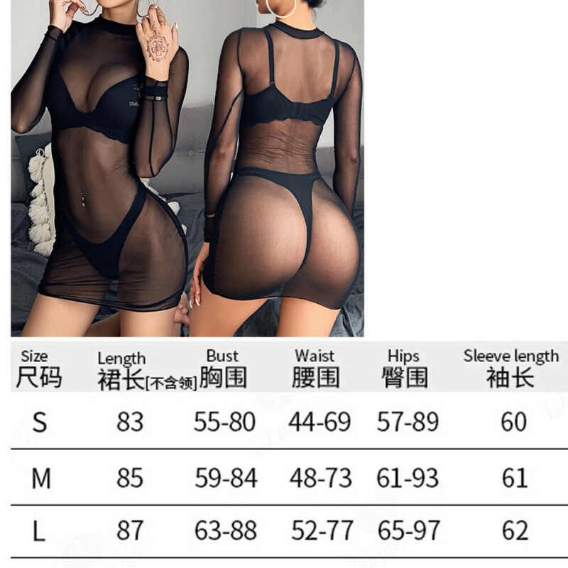 Sexy Women Sheer Bikini Cover Up Swimwear Swim Bathing Suit Long Sleeve Transparent Fishnet Cover Ups Summer Beach Mini Dress in Cover Ups from Sports Entertainment