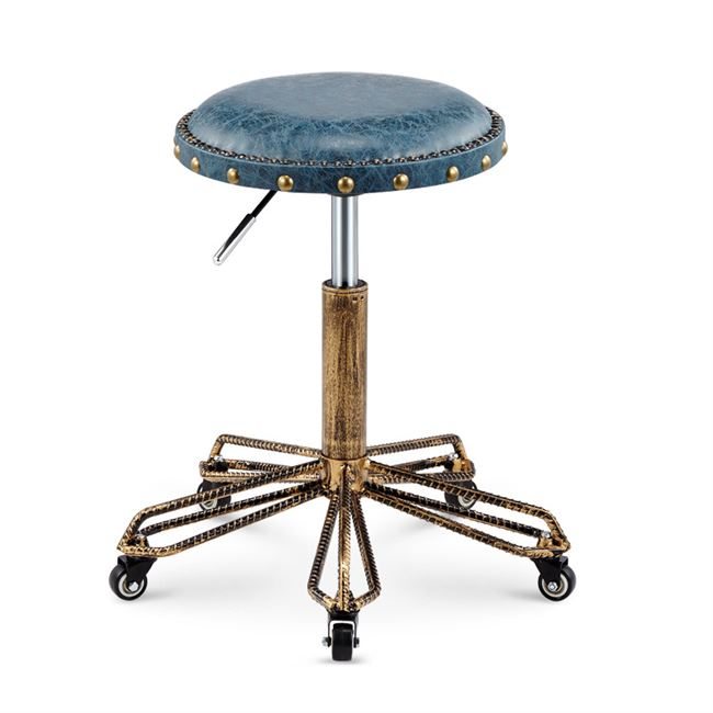 Height Adjustable Nail Embroidery Chairs With High Elastic Sponge Retro Bronze Barber Chair Rotate Lift Beauty Stools