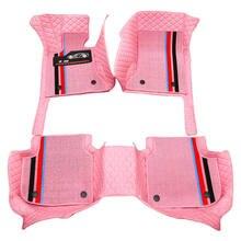 Alfombrillas personalizadas para suelo de coche, accesorio de cuero resistente al agua, respetuoso con el medio ambiente, Material específico para modelo de coche de doble capa, juego completo de 3 uds. Color rosa