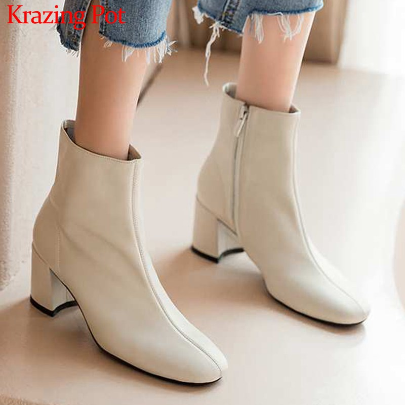 Krazing Pot classic basic solid genuine leather fashion simple  boots round toe high heels winter keep warm women ankle boots L05Ankle  Boots