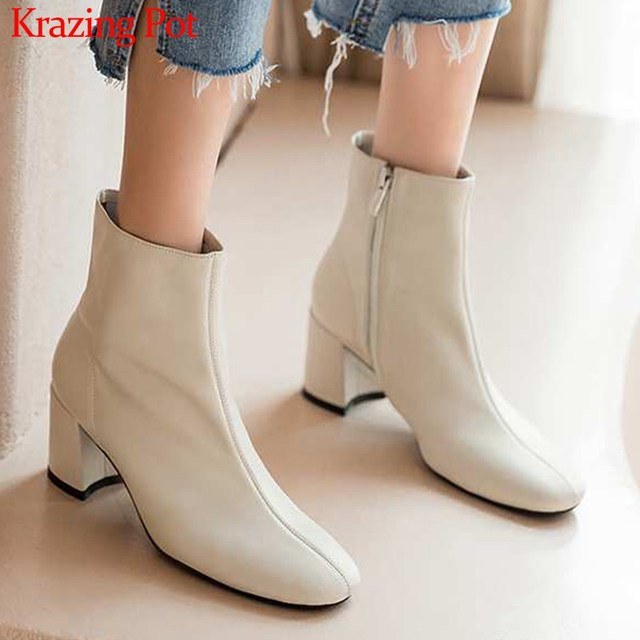 Krazing Pot classic basic solid genuine leather fashion simple boots round toe high heels winter keep warm women ankle boots L05