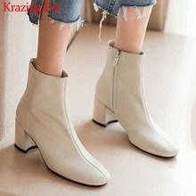 Krazing Pot klasik temel katı hakiki deri moda basit çizmeler yuvarlak ayak yüksek topuklu kış sıcak kadın yarım çizmeler L05
