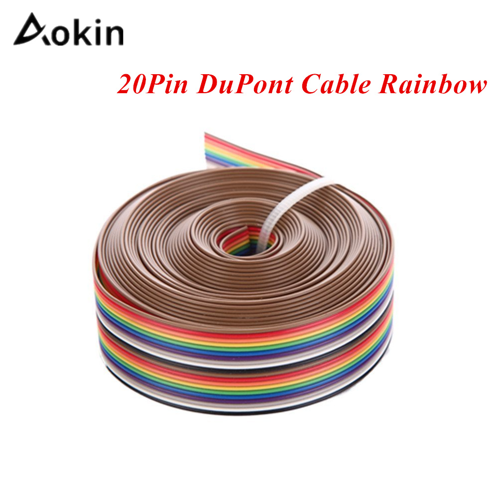 Aokin 5M 1.27mm 20P DuPont Cable Rainbow Flat Line Support Wire Soldered Cable Connector Wire 20 Pin For Arduino Diy Kit 3M