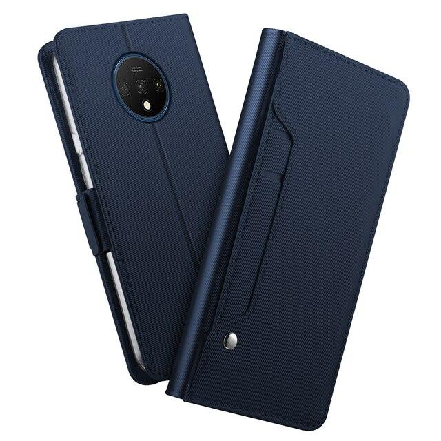 Voor Oneplus 7T 8 Case Luxe Lederen Portemonnee Flip Stand Cover Met Spiegel Shell Voor Oneplus 7T Een plus 7T 8 Pro Case Card Slot