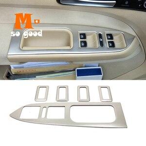 Image 1 - Para touran 2005 11 12 13 14 2015 acessórios do carro de aço inoxidável braço janela interruptor elevador de vidro capa guarnição estilo do carro 5 pçs