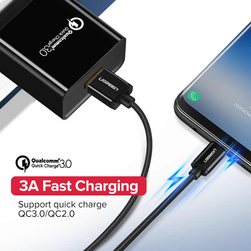 Ugreen USB Tipe C Kabel Usb C Cepat Pengisian Kabel Data untuk Samsung Galaxy S9 S8 Ditambah Ponsel Charger kabel untuk Xiao Mi Mi 8