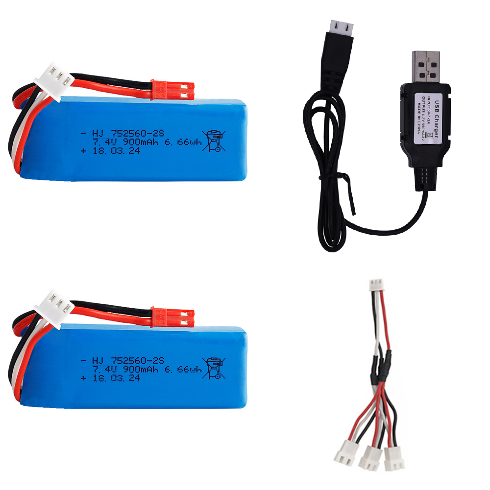 <font><b>7.4V</b></font> <font><b>900mAh</b></font> Lipo Battery with USB charger for XK X520 XK X420 RC Airplane Spare Parts <font><b>7.4V</b></font> battery for WLtoy X520 helicopters image