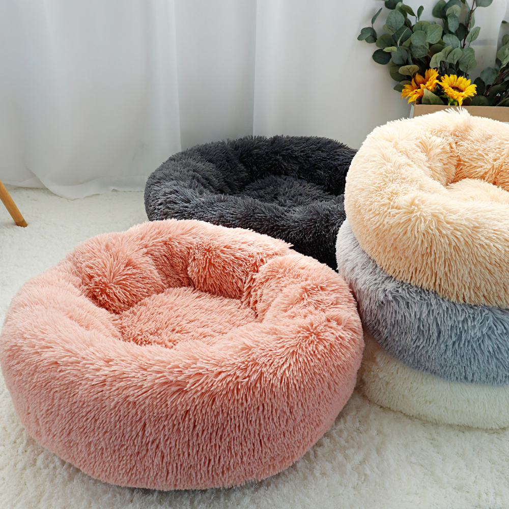 Fluffy Calming Dog Bed Long Plush Donut Pet Bed Hondenmand Round Orthopedic Lounger Sleeping Bag Kennel Cat Puppy Sofa Bed House 11