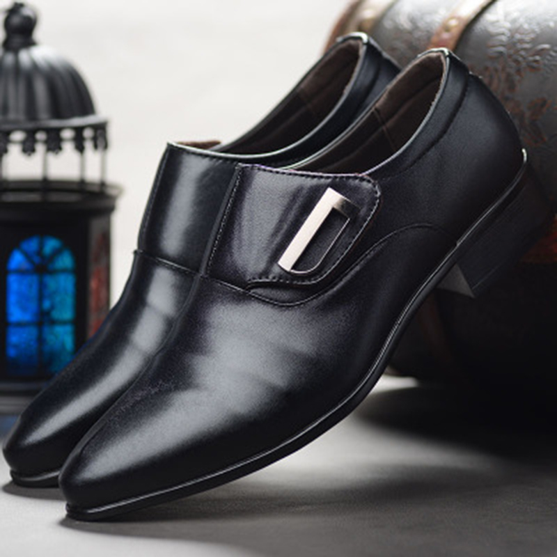 2021 New Men Bussiness Formal Shoes Single Buckle Slip On Black Brown Man Office Party Wedding Dress Shoes Big Size 48