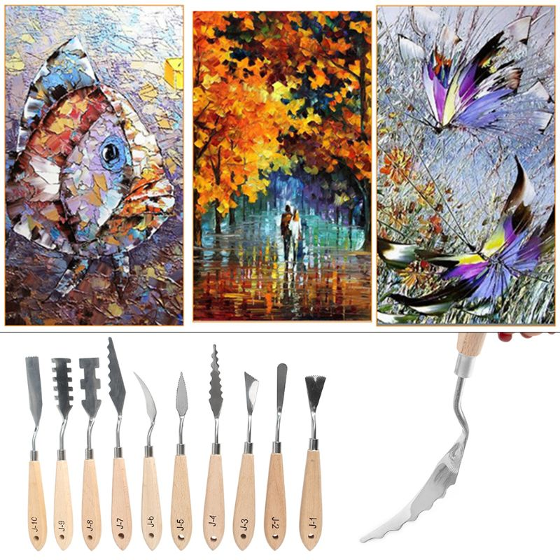 10pcs/set Stainless Steel Painting Palette Knife Oil Paint Spatula Scraper For Artist Acrylic Paintings Tools