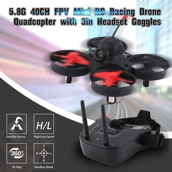 цена на 5.8G 40CH FPV Camera Mini RC Racing Drone Quadcopter Aircraft with 3in Headset Auto-searching Goggles Receiver Monitor