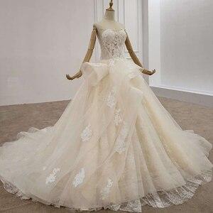 Image 3 - HTL1200 tüll hochzeit kleid 2020 liebsten applique pailletten kristall lace up prinzessin cut hochzeit kleider neue vestido de casamento