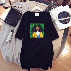 Plus rozmiar letnia koszulka damska sukienki z krótkim rękawem luźna na co dzień kreskówka dziewczyna drukuj do klubu na imprezę Mini sukienka kobieta Harajuku Vestido