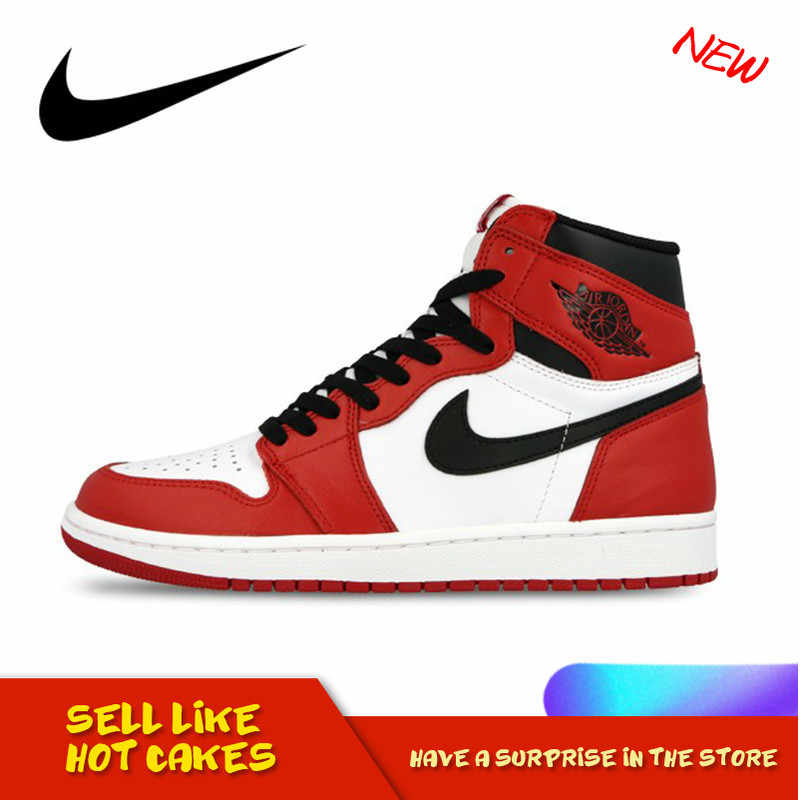 Original Authentic Nike Air Jordan 1 Retro High top OG Authentic Fashion Red White Breathable Men's Basketball Shoes 555088 101