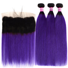 Colored Roots Ombre 1b Purple Straight Hair Bundles With Frontal Remy Human Extension Peruvian Closure