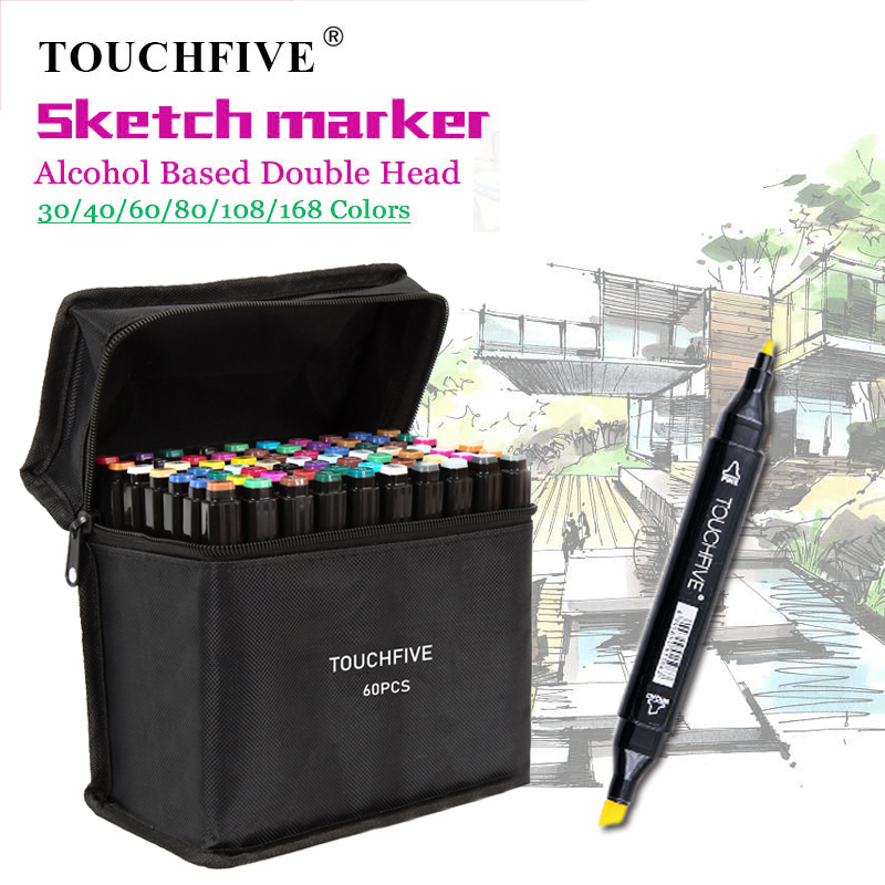 TouchFIVE Markers 30/40/60/80 Color Manga Drawing Markers Brush Pen Alcohol Based Dual Headed Sketch Oily Brush Pen Art Supplies