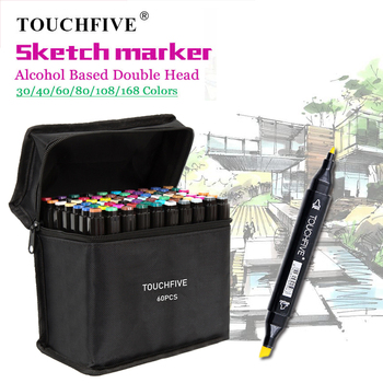 TouchFIVE Markers 30/40/60/80 Color Manga Drawing Markers Brush Pen Alcohol Based Dual Headed Sketch Oily Brush Pen Art Supplies touchfive 30 40 60 80 168 color art markers set dual headed artist sketch oily alcohol based copic markers for animation manga