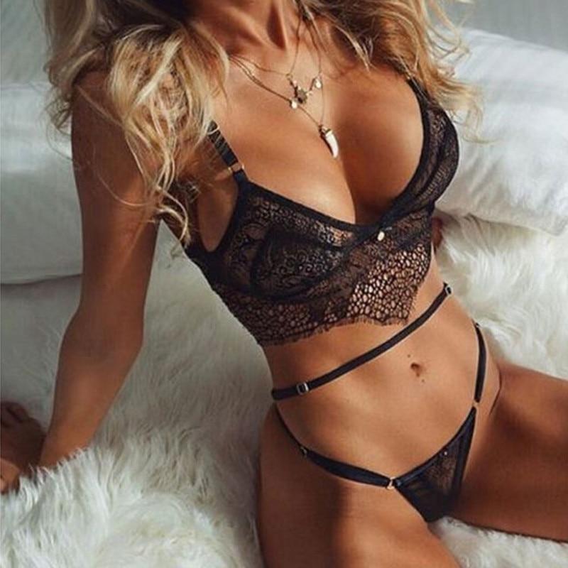 US Women Lingerie Nightwear Underwear G-string See Through Bra Thong Sleepwear