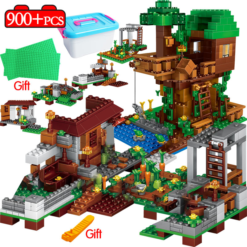 900PCS Technic Village The Tree House Building Blocks LegoING My World Sets Kits Figures Educational Toys For Kids