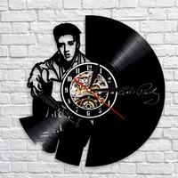 Elvis Wall Clock The King Of Rock Clocks Modern Design Vinyl Record Wall Watch Quartz Mechanism 3D Decorative Hanging