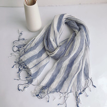 Scarf Women Linen Stirpe Wraps Accessory Summer Spring Long Breathable Gift For Lady Luxury