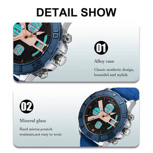Image 2 - DUANTAI Mens Sports Watches Dual Time Zone Luxury Watch Men Leather Deployment Buckle Ourdoor Waterproof 3AM