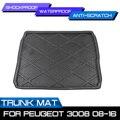 Tapis de plancher imperméable pour Peugeot 3008-2008 | Tapis de coffre arrière de voiture  tapis de sol imperméable  tapis Anti-boue plateau Cargo
